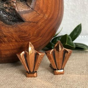 Renoir Copper Vintage Modern Art Deco Earrings
